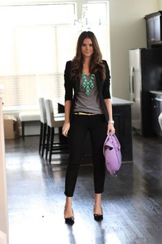 grey t-shirt + black blazer + statement necklace + black trousers