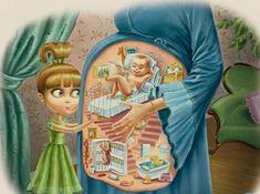 little girls, point of view, footprint art, illustrations, children pictures, nurse humor, pierrett diaz, kids, eyes