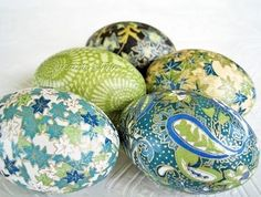 Decoupage easter eggs~ I make these every year from fancy napkins or tissue paper!