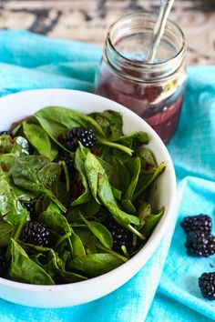 Spinach Salad with Candied Bacon and Fresh Blackberry Vinaigrette-oh my, candied bacon!