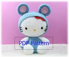 PDF Pattern Amigurumi Hello Kitty in Rat Costume : Chinese Zodiac Rat. $5,50, via Etsy.