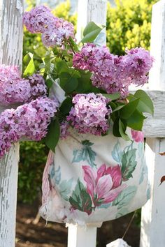 Lilacs in fabric bag