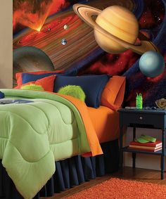 Space Mural for Kid's Bedroom.. Cute!