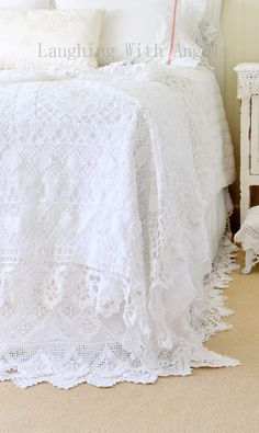 Laughing With Angels--lace tablecloth on bed--so pretty