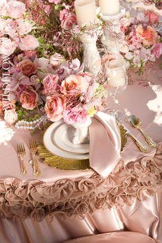 table settings, shabby chic style, wedding receptions, vintage colors, vintage romance, wedding reception decorations, blush, tabl set, table skirts
