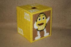 395  yellow M & M tissue box cover by angelbear56 on Etsy, $6.00