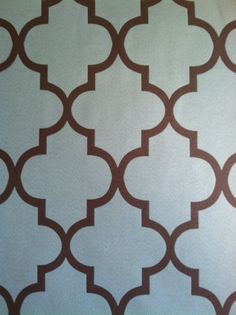 Teal brown geometric fabric for drapes in bedroom