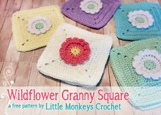 Wildflower Granny Square - Made with a crochet flower pattern that appears to pop off the square, this free crochet pattern will be perfect for crochet bags, afghans, and more.