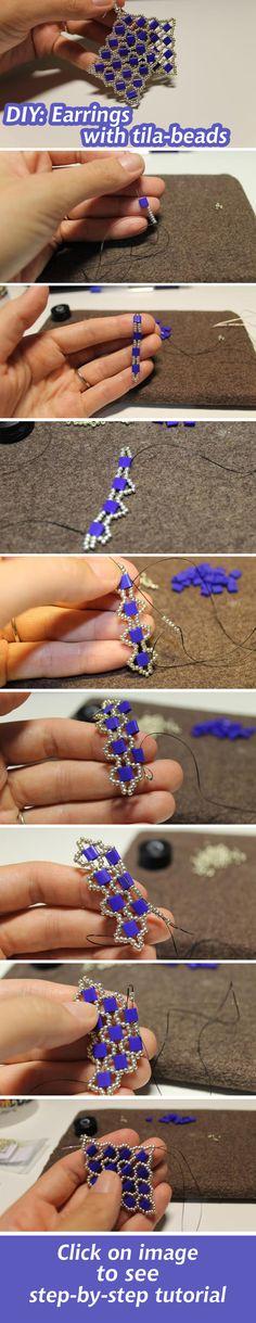 "Плетем ажурные серьги из бисера ""тила"" / Earrings with tila-beads #beads #handmade #howto #tutorial"