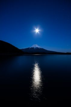 japan  lake tanuki  moon  mt.fuji