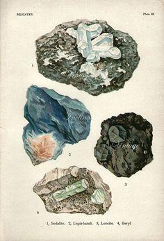 Vintage 1911 MINERALS Print Antique PRECIOUS STONES print mineral print, bookplate art print, lapis-lazuli gems wall print wall art