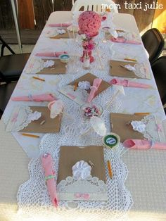 Doily baby shower decorations