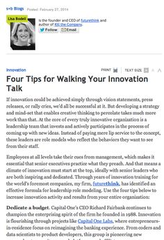 Strategy & business has 4 amazing tips to walk your innovation talk!