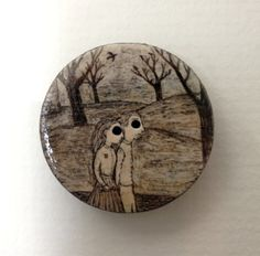 ButtonArtMuseum.com - The Long Walk, original miniature painting on button by HannahBattershell