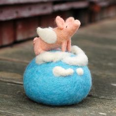When Pigs Fly Needle Felted Pin Cushion by BossysFeltworks