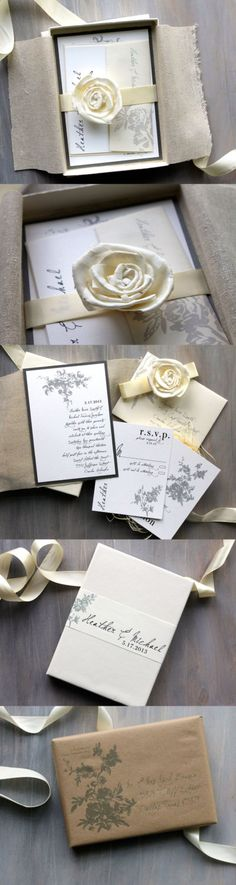 All White - Boxed Wedding Invitations, Classic, Elegant & Rustic Chic with Ivory, Gray and White.