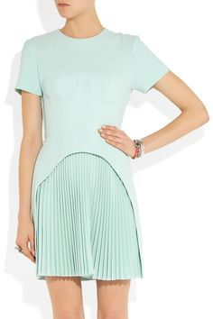Christopher KaneCorseted pleated wool-crepe dress