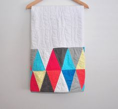 Love the design and colors! Modern Baby Quilt Triangle Quilt Unisex by OHelloSunshine, $125.00