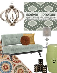 The Modern Moroccan style embraces the exotic,creating a sultry mood with fabrics, patterns, and colors drawn from the timeless style of Morocco. To capture this hot trend in your home, look for traditional Moroccan design elements (like openwork quatrefoil patterns and shapely urn detailing) that are updated with unexpected colors and finishes.