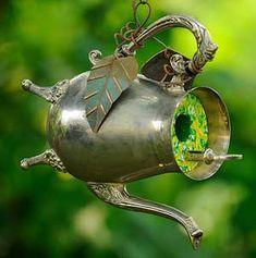creative birdhouses, tea pot, garden, teapot birdhouse