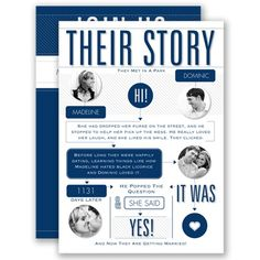 """Everyone enjoys a good love story! Invite your guests with this completely unique typography wedding invitation that outlines your personal love story. Invitations by David's Bridal Style """"Our Love Story"""" in Marine."""