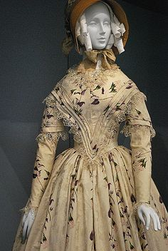 1845-1849 English Dress: Silk plain weave with warp-float patterning, printed, silk lace, and silk Passementerie.