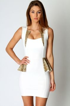 Sequin trim peplum dress