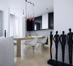 12 bucatarii moderne in care poti lua masa (1) dining areas, white kitchen, pendant lamps, dining chairs, black white, home designing, modern kitchens, kitchen designs, kitchen cabinets