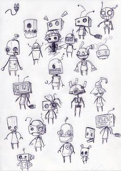 robots, robot sketches, drawing robot, robot inspir, robot drawings, doodle characters, pencil art, illustr
