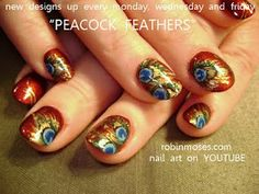 Copper peacock feather nail art.