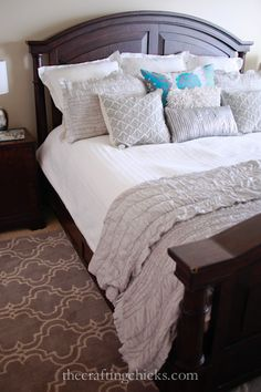 LOVE the textures and colors of this master bedroom makeover