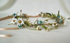 Bridal Hair Flower Crown Bohemian Rhapsody Daisy headband Hippie Floral Circlet Aqua Teal wedding headpiece silk flower hairwreath accessory. $44.00, via Etsy.