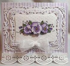 die cut, papercraft, impress card, cardsspellbind, card 18, pansies, spellbind card, paper crafts, fanci card