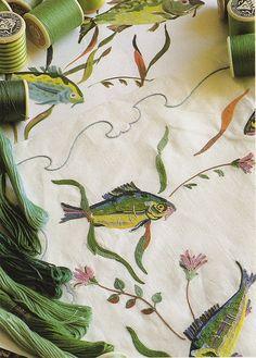 fish embroideri, craft, aristotl onassi, art, yacht, textil, fabric, embroidery, porthault linen
