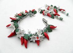 Red chili pepper  Bracelet earrings jewelry set  by insoujewelry