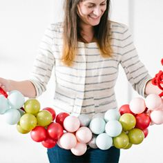 A modern and colorful DIY for turning ornaments into a color block garland
