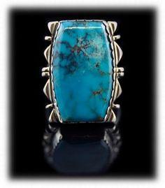 Navajo Kingman Turquoise Mens Ring - Navajo Silver Jewelry