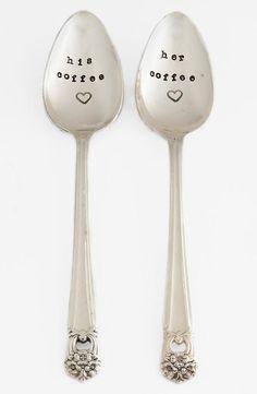 'His/Her' vintage coffee spoons -- cute!