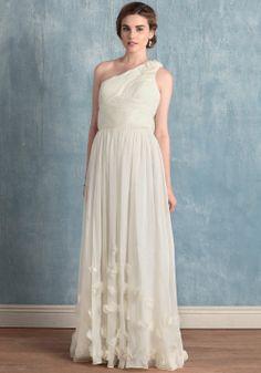 one shoulder simple wedding dress for summer, fall, spring