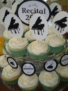Vanilla cupcakes made for a piano recital.