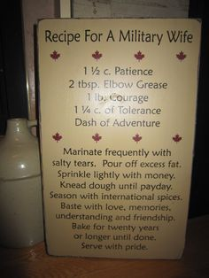 Recipe For A Military Wife Primitive by PrimitiveExpressions, via Etsy.