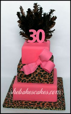 30th Birthday Leopard cake Kentucky | She Bakes Cakes LLC birthday bash, pink cakes, cheetah print, theme cakes, first birthdays, leopard, fondant cakes, first birthday cakes, 30th birthday