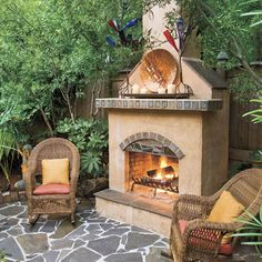 Garden Patio    An outdoor fireplace, decorated with items that the homeowner acquired in his travels through the Southwest, dominates this sunken garden patio.