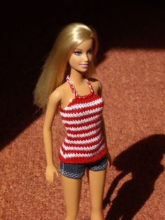 Hand-knitted striped top for Barbie and similar fashion dolls, red-white striped