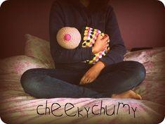 SALE. Fun crocheted boobie beanie, breastfeeding hat. Newborn size. on Etsy, $12.77