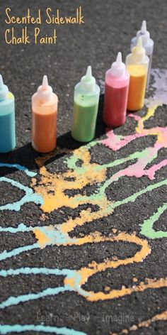 Homemade SCENTED sidewalk chalk paint!  This super simple paint recipe is inexpensive and easy and provides hours of sensory art exploration for kids.  The best part is that it rinses clean easily with a hose when play is done.  We love simple recipes for play!