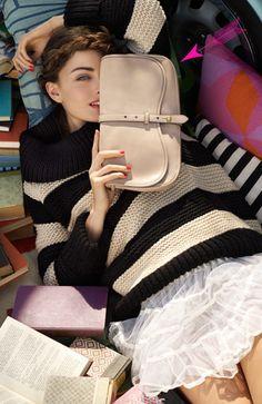 stripe sweater and clutch