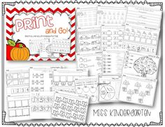 """""""Print & Go: Math & Literacy Printables for Fall"""" (from Miss Kindergarten)"""