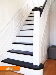 Before & After: The Year's Most Dramatic Transformations Best of 2013 | Apartment Therapy dramat transform, basement stairs, apart therapi, stairway, black white, hous, apartments, basements, painted stairs