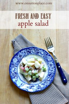 Fresh and easy apple salad recipe that can be made in a just a few minutes. The perfect side dish for a fall dinner!